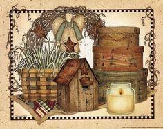 Folk Art Country Primitive,.
