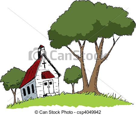 Vector Illustration of Country Church.