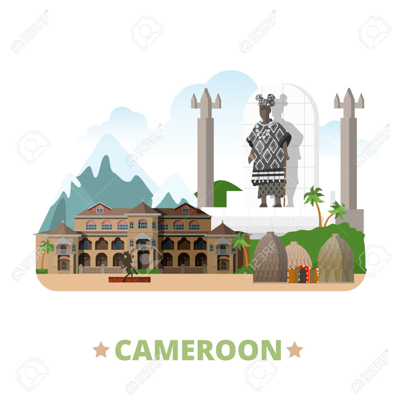 Cameroon Country Design Template. Flat Cartoon Style Historic.