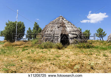 Stock Image of Traditional straw hut in greek country k11205725.