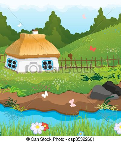 Vector Clipart of Little House on the banks of the River.