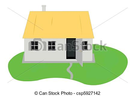 Vector Illustration of Vector illustration of country hut under.
