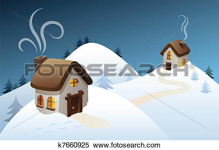 Clipart of Winter country scene k7660925.
