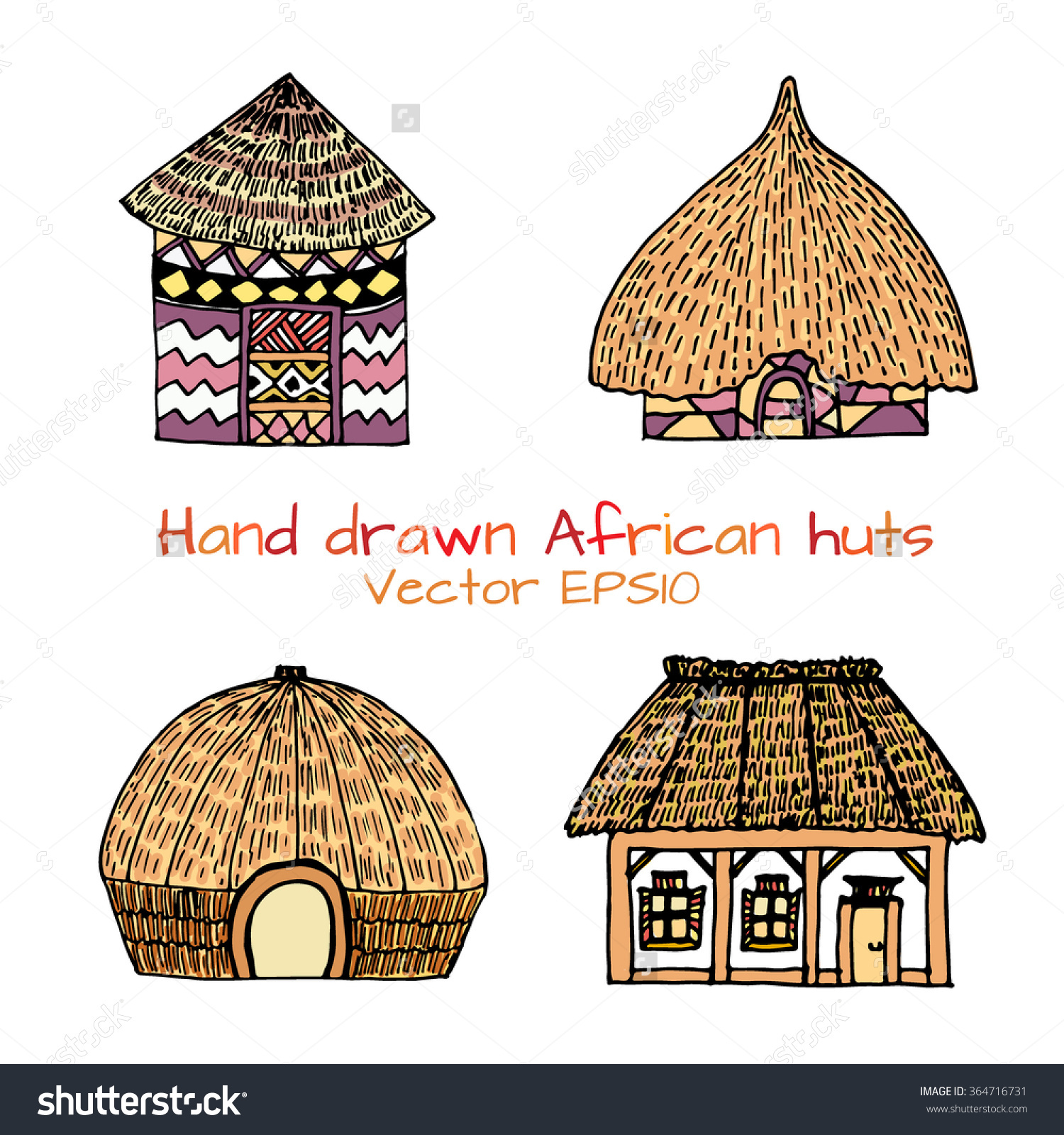 Hand Drawn Set Sketch Typical African Stock Vector 364716731.