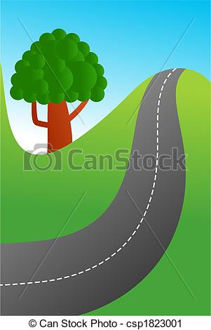 Clipart of country road.