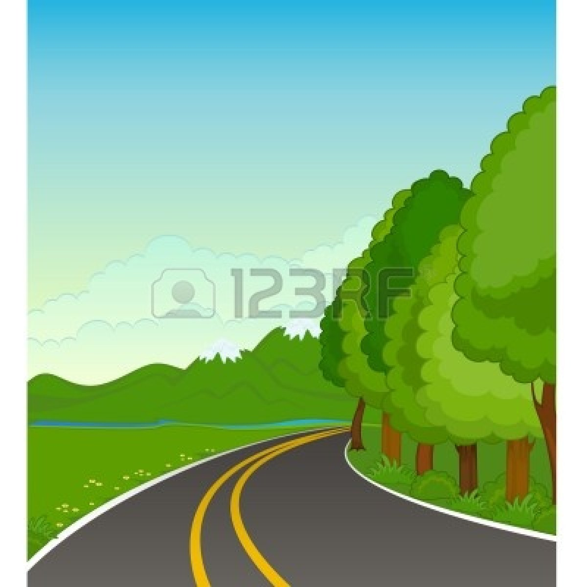 Country road clipart.