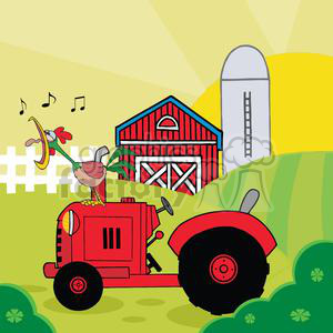 Country Farm Scene With Rooster Crowing Of The Rising Sun In Vintage  Tractor clipart. Royalty.