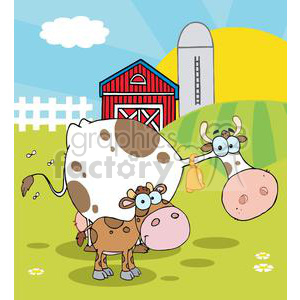 Country Farm Scene Cow With A Little Calf clipart. Royalty.
