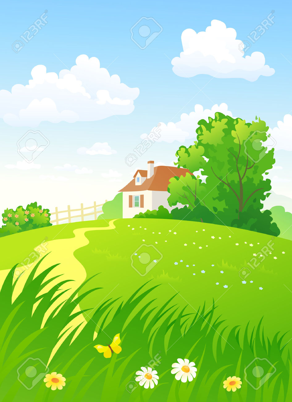 Summer Countryside Vertical Royalty Free Cliparts, Vectors, And.