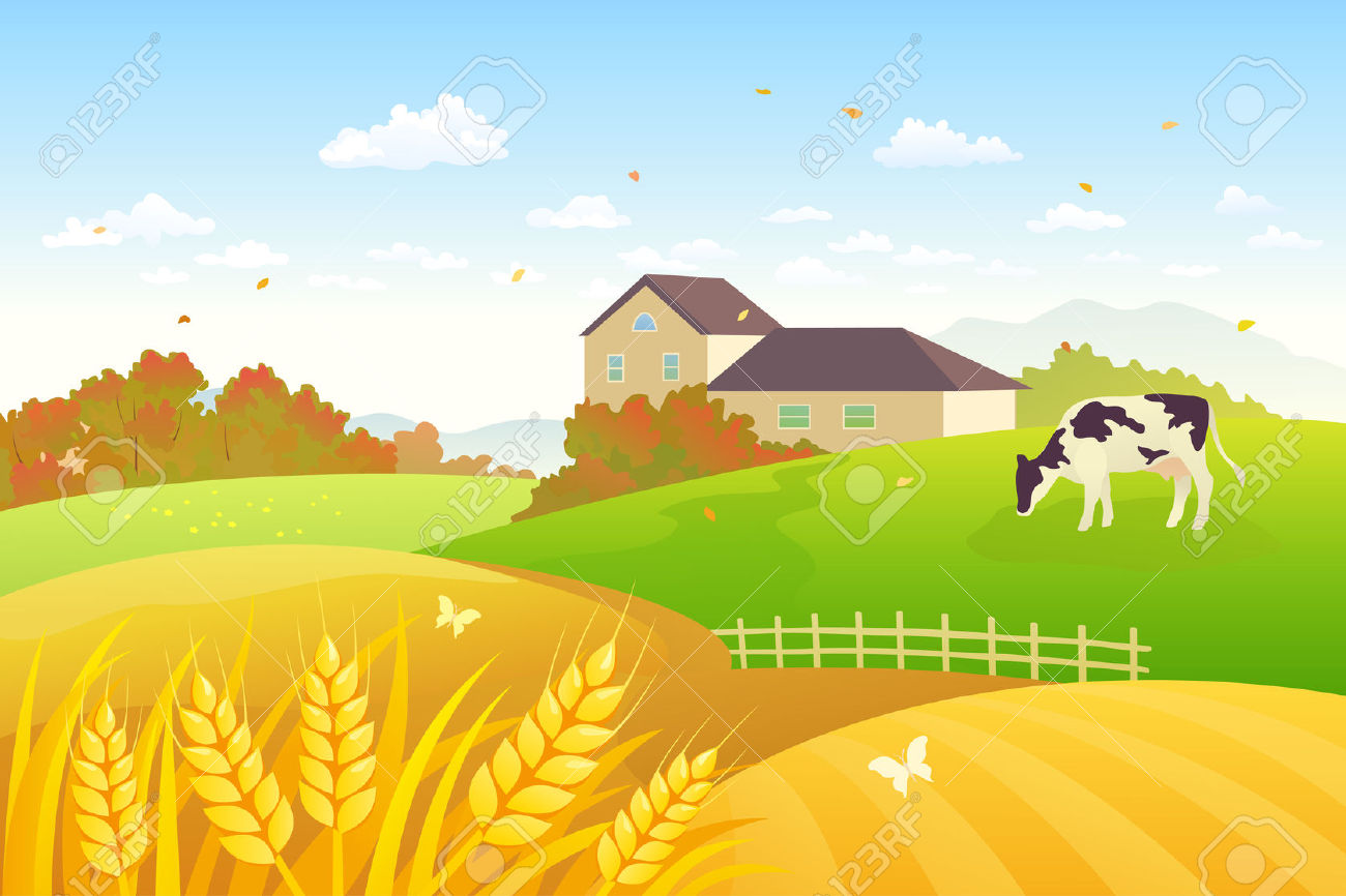 Vector Illustration Of A Beautiful Fall Countryside Scene With.