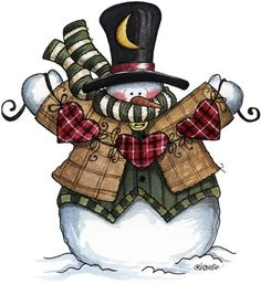 Country Snowman Clipart.