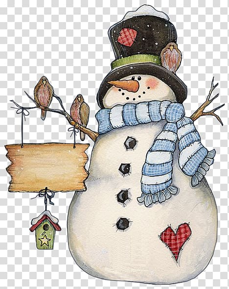Christmas card Snowman , Watercolor Country transparent.