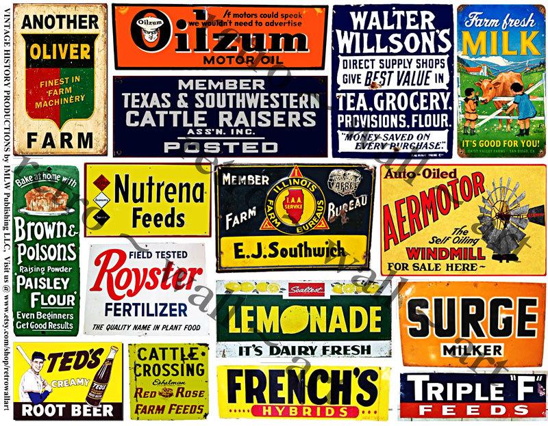 Rusty Metal Signs, Farm Tin Signs, Ephemera STICKERS, Dairy Cows.