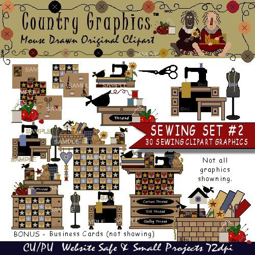 Sewing Clip Art Graphics Country Style.