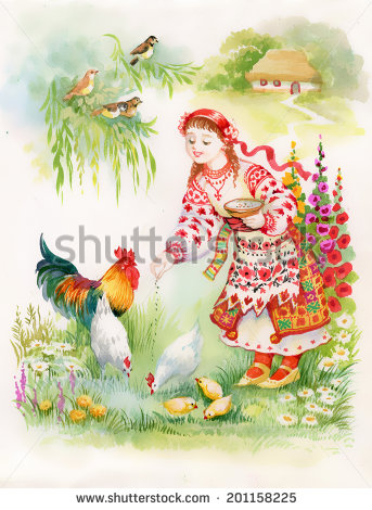 Country woman with chickens clipart.