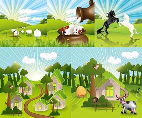 Countryside Farm Clip Art.