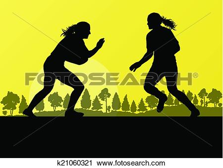 Clipart of Woman rugby silhouette in countryside nature background.