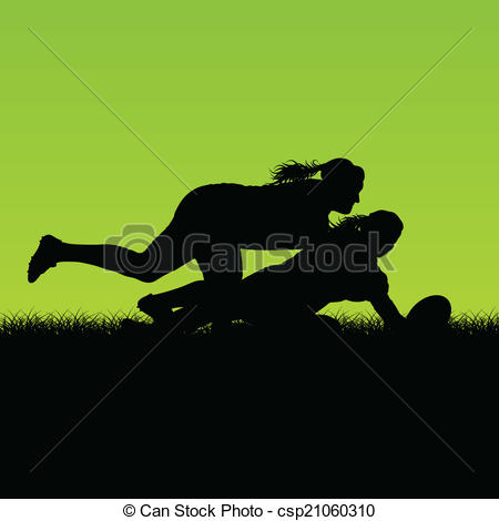 Vector Clip Art of Woman rugby silhouette in countryside nature.