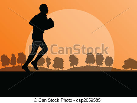 Clipart Vector of Rugby playing man silhouette in countryside.