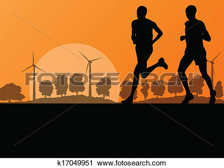 Clipart of Men marathon runners in wild countryside forest nature.