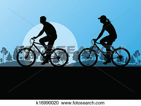 Clipart of Active cyclists bicycle riders in countryside nature.