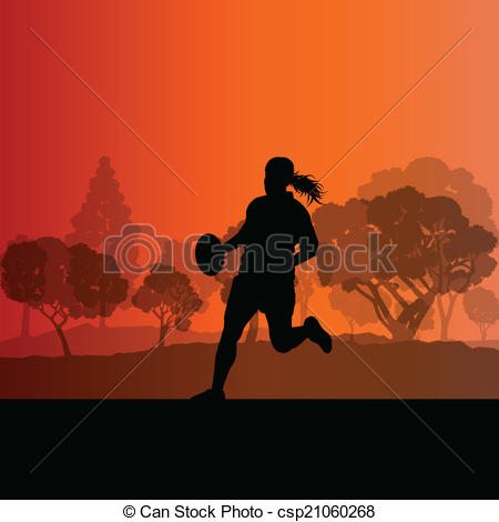 Clip Art Vector of Woman rugby silhouette in countryside nature.