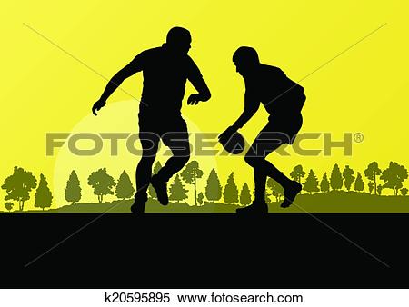 Clipart of Rugby playing man silhouette in countryside nature.