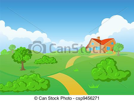 Vector Clip Art of Countryside House. Green meadow..