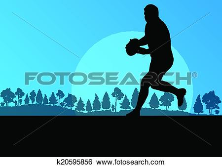 Clip Art of Rugby playing man silhouette in countryside nature.