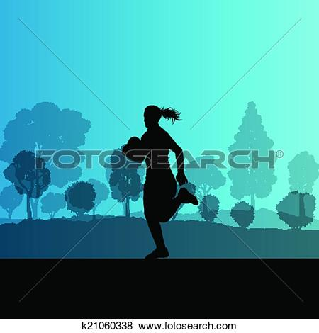 Clip Art of Woman rugby silhouette in countryside nature.