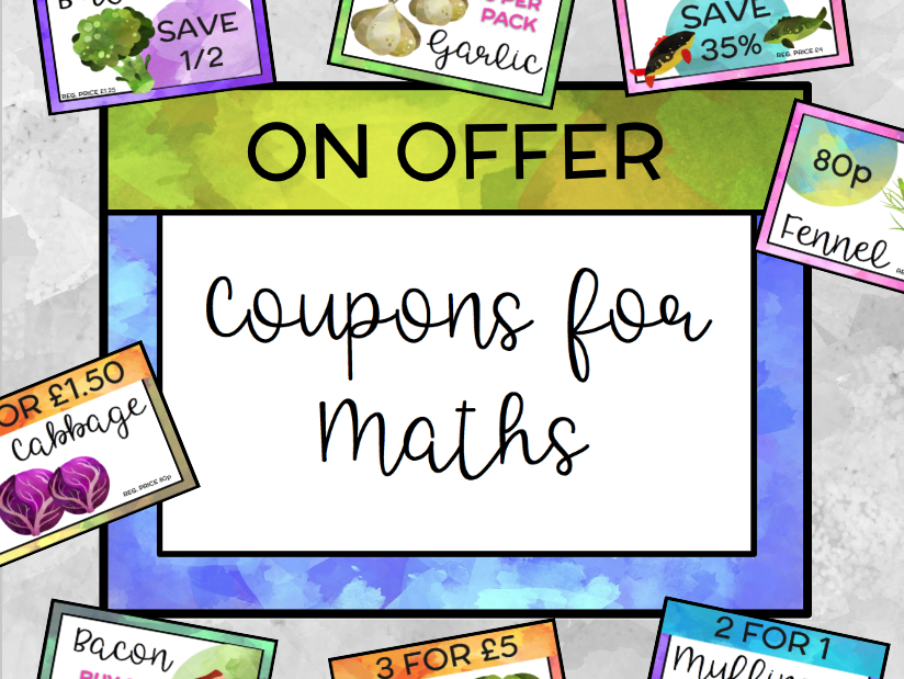 Digital Coupon Clipart for Problem Solving in Maths.