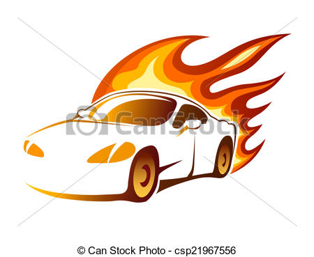 Clipart Vector of Modern luxury sporty coupe with burning flames.