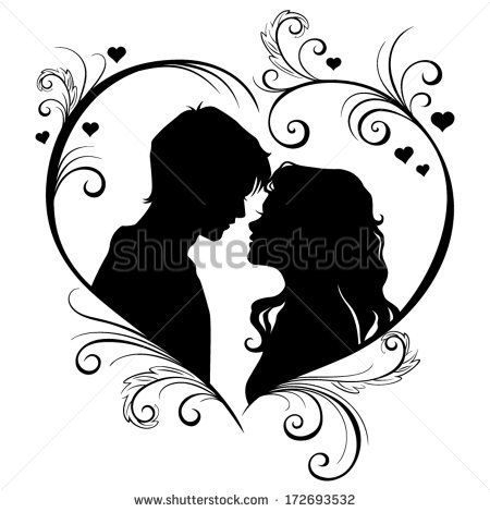 Vector silhouette of a loving couple in the hear frame isolated on.