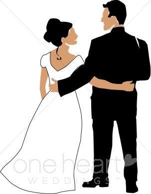 Wedded Couple Clip Art.