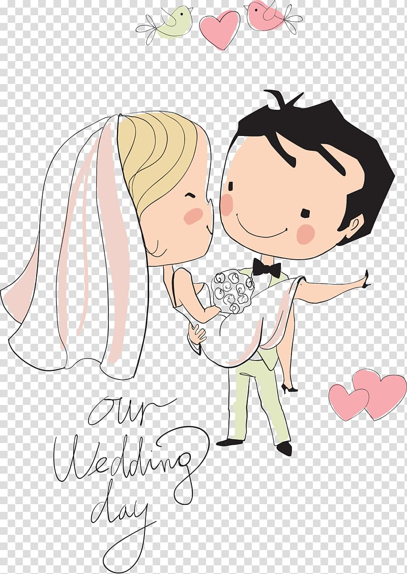 Couple illustration with text overlay, Wedding invitation.