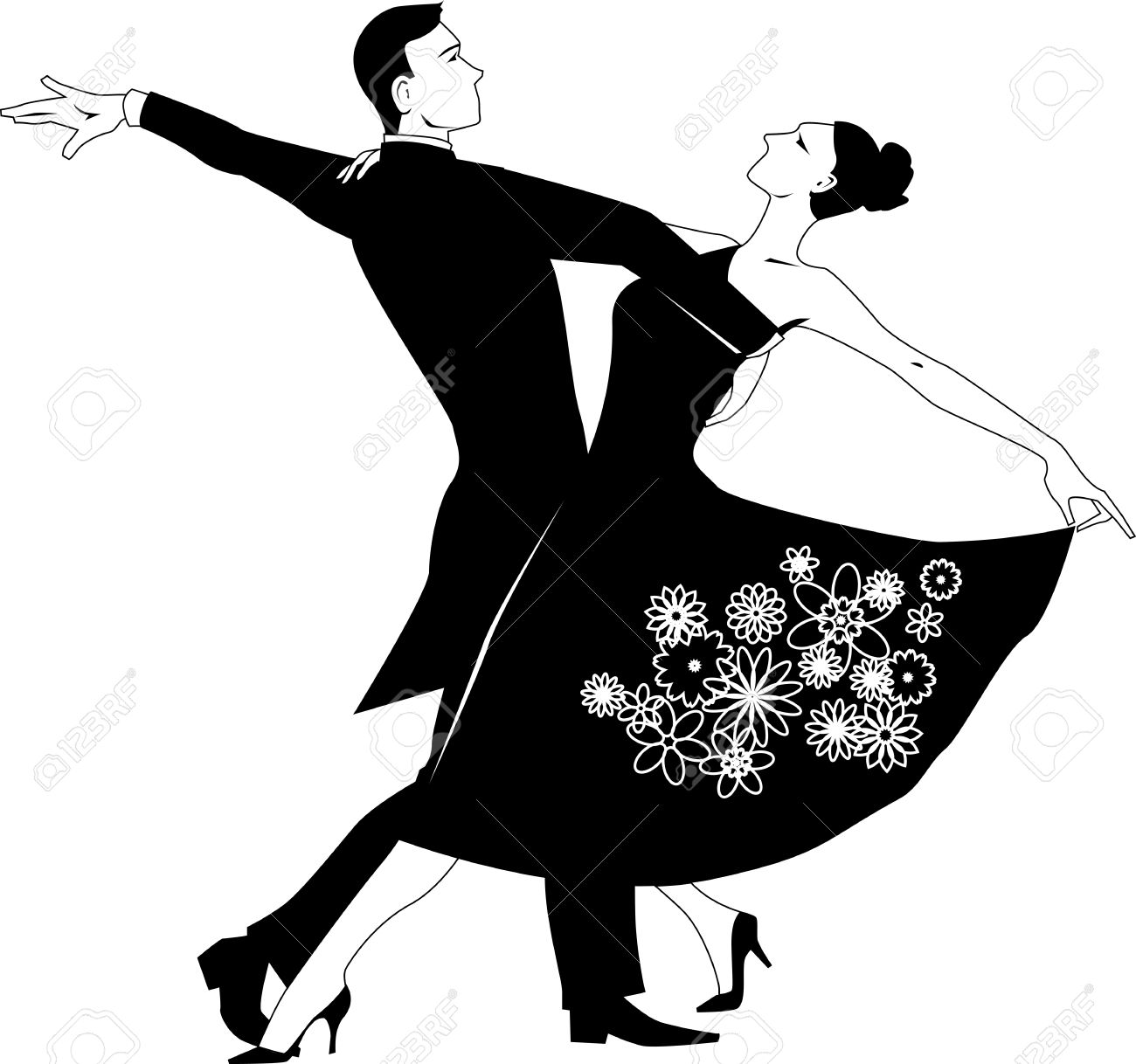 Black vector silhouette clip art of a couple dancing waltz, no...