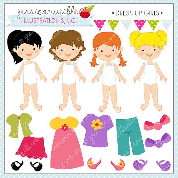 Dress Up Girl Cute Digital Clipart for Invitations, Card Design.