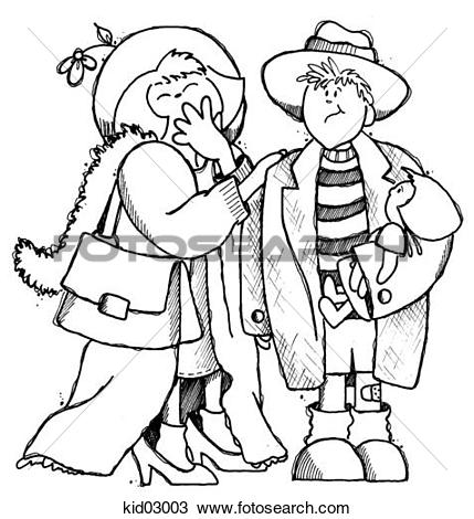 Drawing of Illustration of boy and girl playing dress.