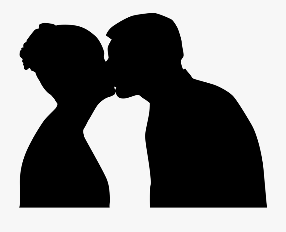 Silhouetted Kiss.
