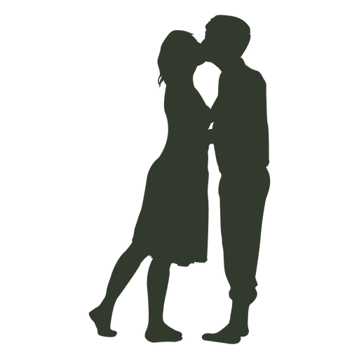 Couple kissing silhouette passionate.