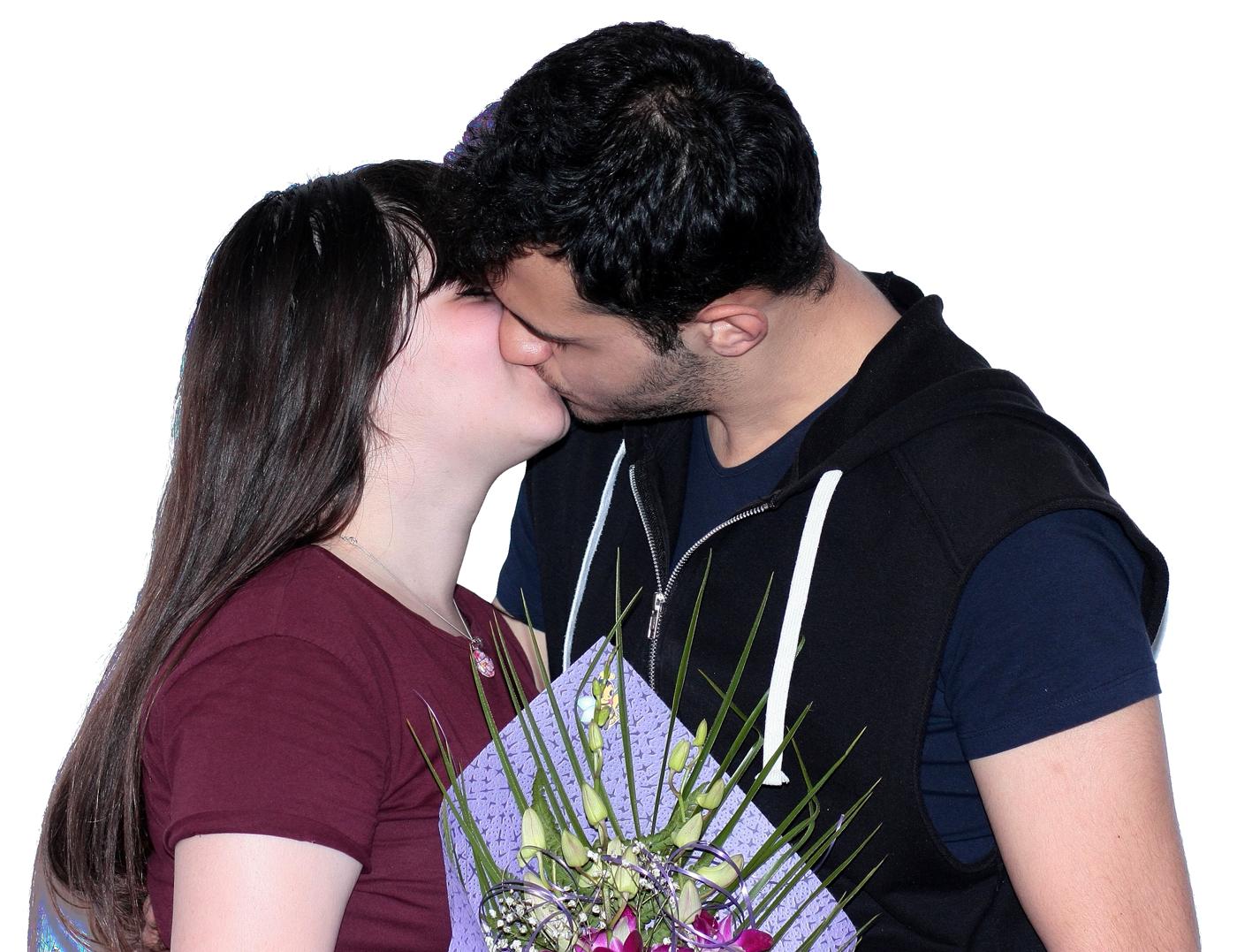 Couple Kissing PNG Transparent Image.
