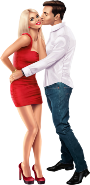 Couple Kissing (PNG).
