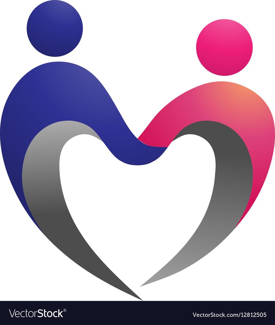 Couple shape love logo.
