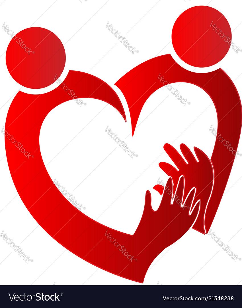 Loving heart symbol couple logo.