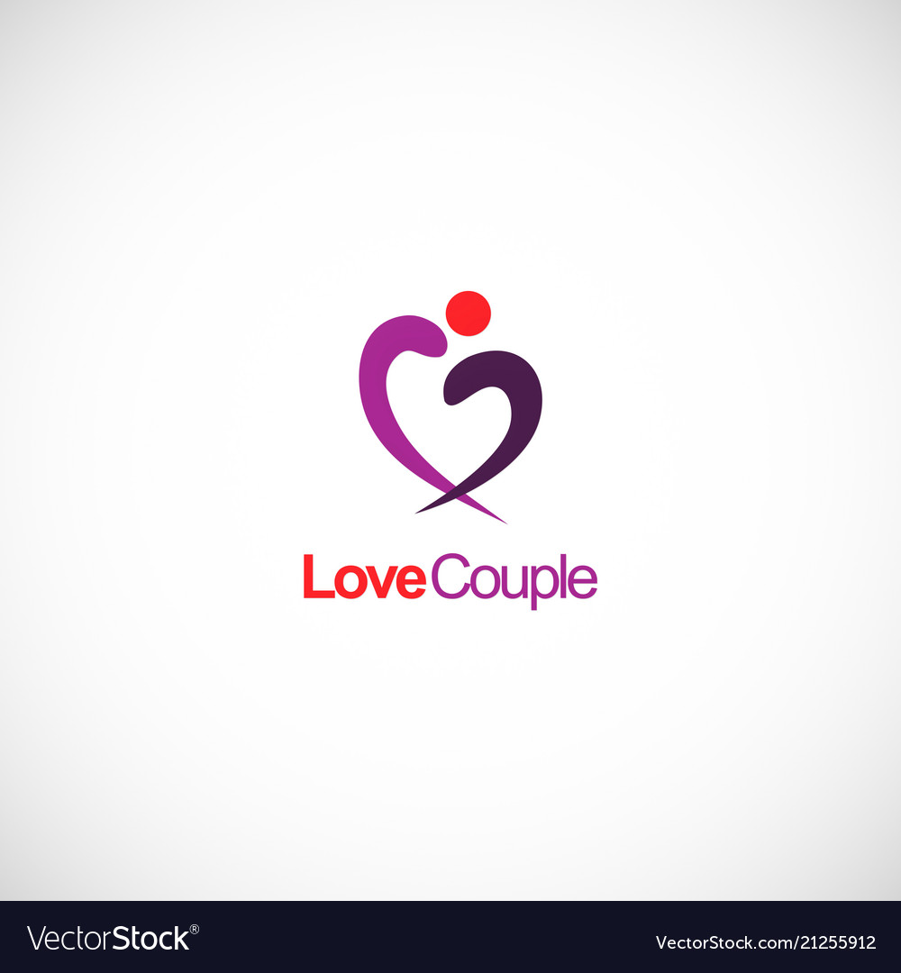 Love couple abstract heart logo.