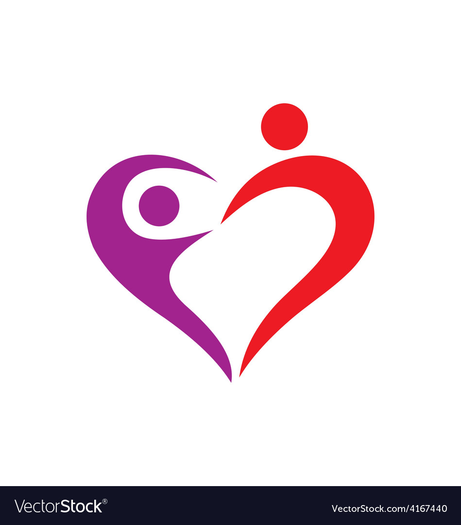 Heart love couple logo.
