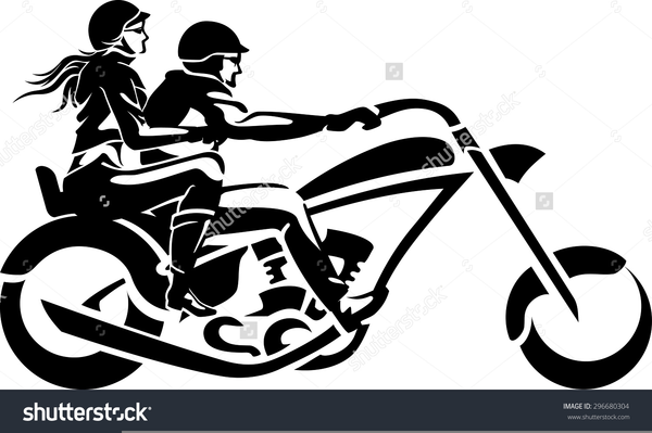 Clipart Couple On Motorcycle.