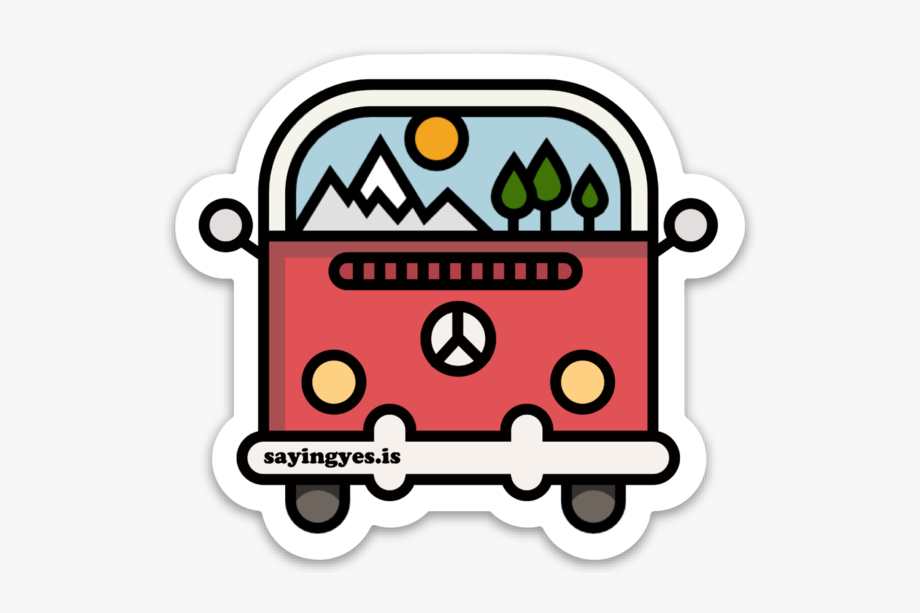 Mountains Vw Bus Sticker.