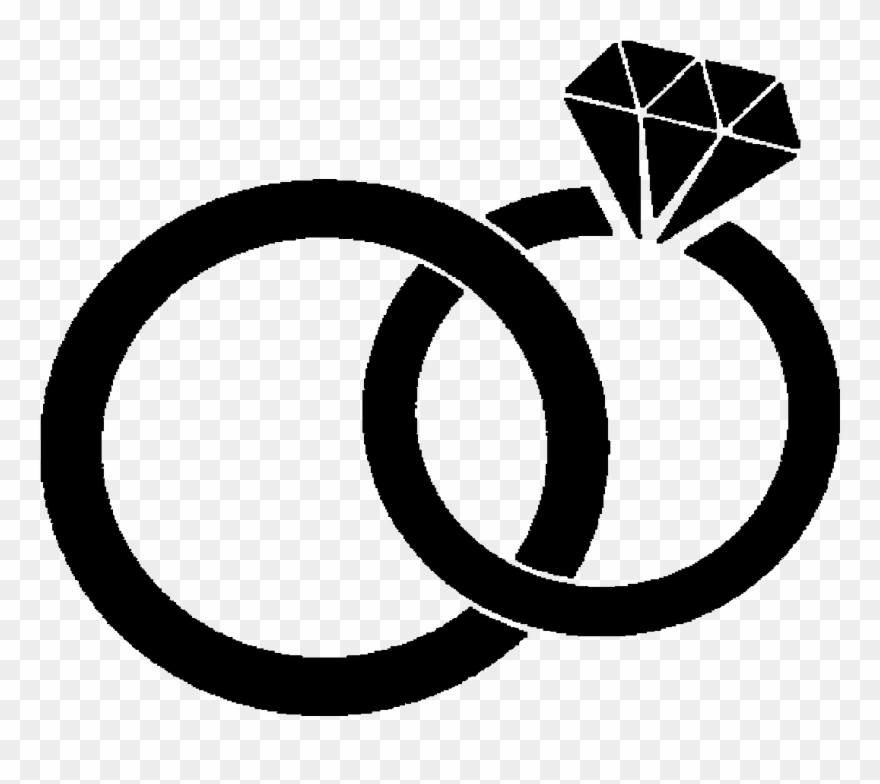 Black And White Wedding Rings Clipart.