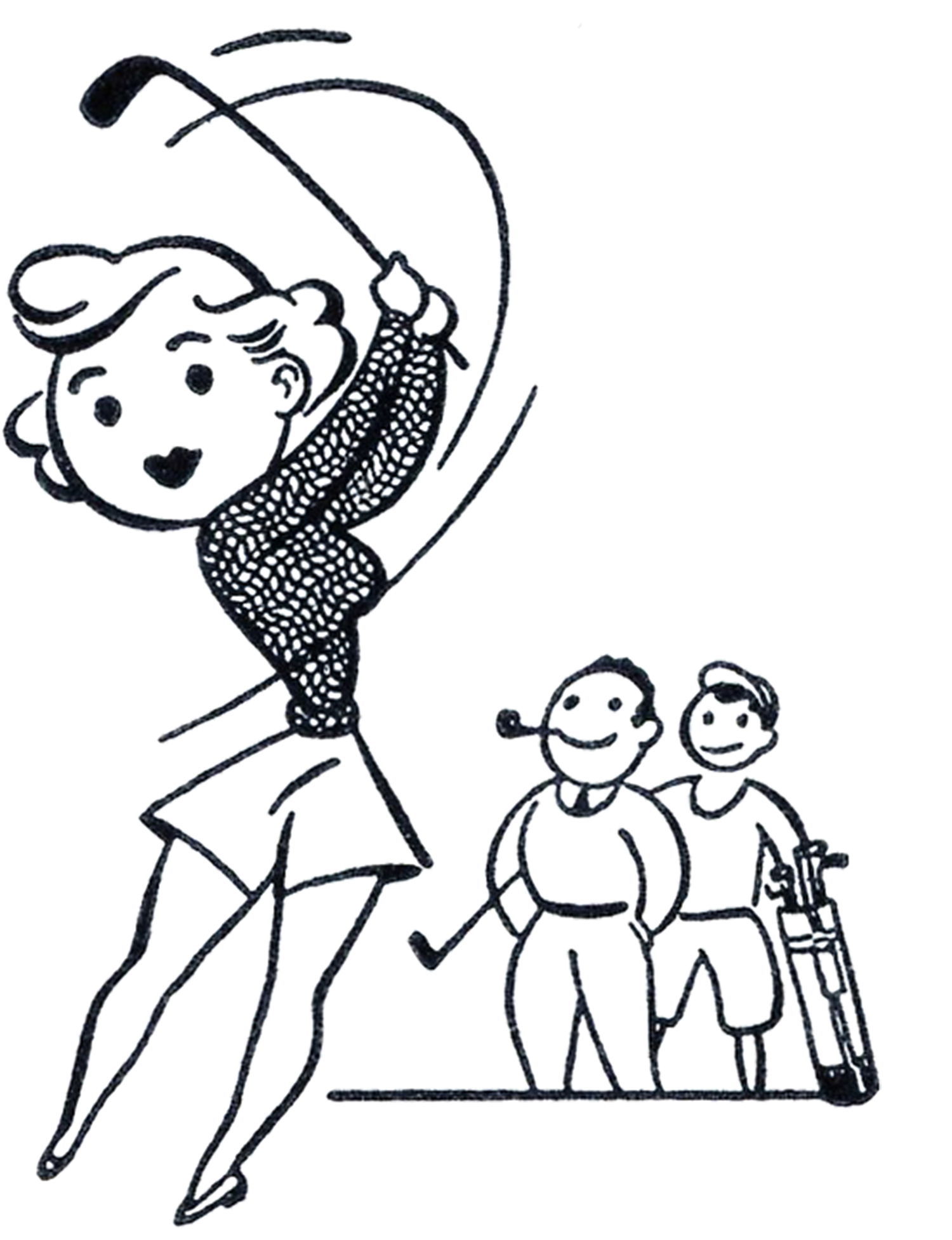Funny couples golf clipart kid.